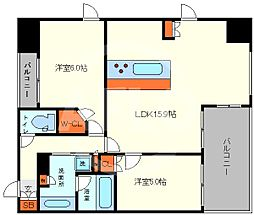 ワコーレ大阪新町タワーレジデンス 3階1LDKの間取り