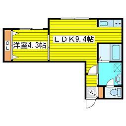 札幌市営東豊線 元町駅 徒歩5分の賃貸マンション 2階1LDKの間取り