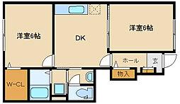 大阪府富田林市寿町3丁目の賃貸アパートの間取り