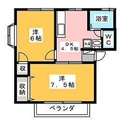 ヒルズ望郷E棟[1階]の間取り