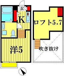 エミアス松戸[2階]の間取り