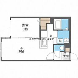札幌市営南北線 麻生駅 徒歩4分の賃貸マンション 4階1LDKの間取り