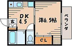 広島県広島市東区牛田新町4丁目の賃貸アパートの間取り