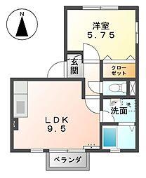 愛知県あま市木田八反田の賃貸アパートの間取り