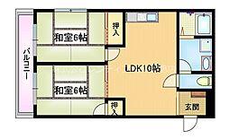 おおさか東線 城北公園通駅 徒歩6分の賃貸マンション 1階2LDKの間取り