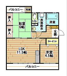 福岡県北九州市八幡西区永犬丸5丁目の賃貸アパートの間取り