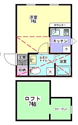 PRIMASagamidaiMaruyoshiVillgeWEST棟 1階1Kの間取り