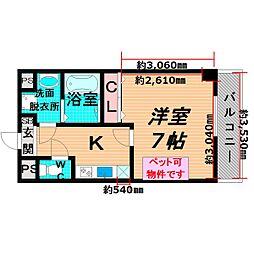 Osaka Metro長堀鶴見緑地線 蒲生四丁目駅 徒歩1分の賃貸マンション 4階1Kの間取り