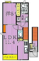 東京都足立区江北4丁目の賃貸アパートの間取り