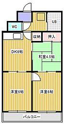 ハイツ松戸III[203号室]の間取り