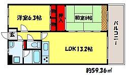 福岡県福岡市城南区長尾3丁目の賃貸マンションの間取り