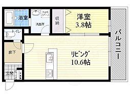 大阪モノレール本線 千里中央駅 徒歩11分の賃貸アパート 1階1LDKの間取り