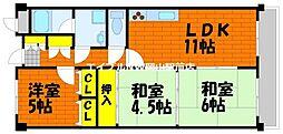 岡山県岡山市北区延友の賃貸マンションの間取り