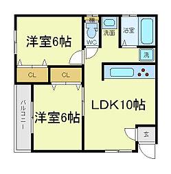 [タウンハウス] 大阪府大阪市阿倍野区共立通1丁目 の賃貸【/】の間取り