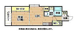 福岡県北九州市小倉北区田町の賃貸マンションの間取り