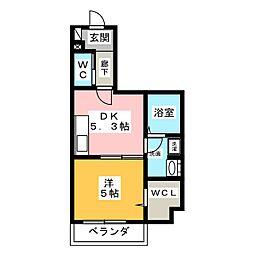 新町フォーレストハイツ 1階1DKの間取り