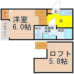 名古屋市営東山線 八田駅 徒歩4分の賃貸アパート 2階ワンルームの間取り