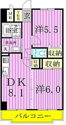 エクセラン東松戸[211号室]の間取り