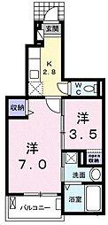 東京都福生市志茂の賃貸アパートの間取り