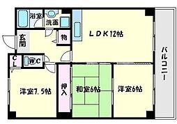 エクセル千里三番館[2階]の間取り