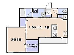 ヴィラ博丈井口B棟 1階1LDKの間取り