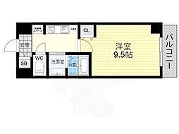 近鉄難波線 近鉄日本橋駅 徒歩6分の賃貸マンション 6階1Kの間取り