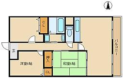 兵庫県尼崎市食満2丁目の賃貸マンションの間取り