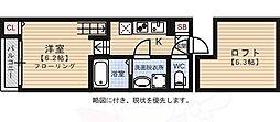 西鉄天神大牟田線 高宮駅 徒歩8分の賃貸アパート 1階2Kの間取り