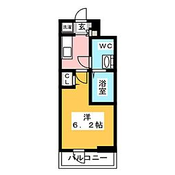 SHOKEN Residence亀有 6階1Kの間取り
