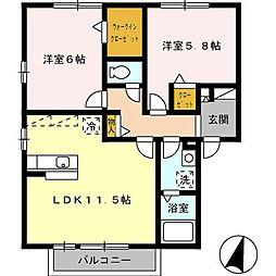 花多来館 B棟[2階]の間取り