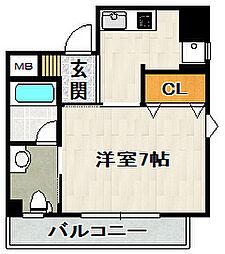ロイヤルメゾン宝塚[1101号室]の間取り