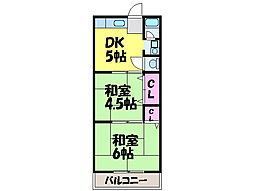 愛媛県松山市小坂5丁目の賃貸アパートの間取り