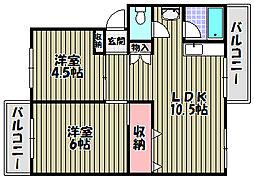 狭山遊園ハイツ6号棟[5階]の間取り