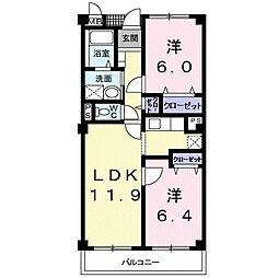 静岡県浜松市中区高丘西1丁目の賃貸マンションの間取り