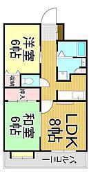 岡山県倉敷市昭和2丁目の賃貸アパートの間取り