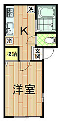 神奈川県川崎市中原区上丸子八幡町の賃貸アパートの間取り