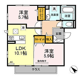 D-room可部3丁目B棟[101号室]の間取り