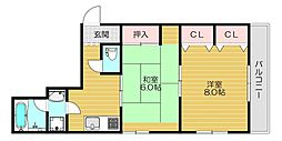 京阪本線 守口市駅 徒歩2分の賃貸マンション 3階2Kの間取り