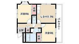 愛知県名古屋市緑区旭出1丁目の賃貸マンションの間取り