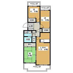 不二マンションB棟[1階]の間取り