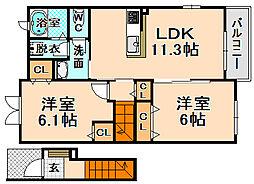 兵庫県伊丹市西野3丁目の賃貸アパートの間取り