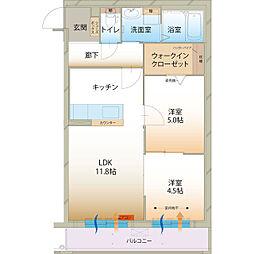 ラ メゾン ミモザI[2階]の間取り
