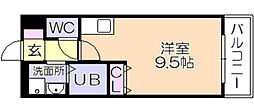 T&R上津I 2階ワンルームの間取り