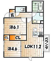 CloverII[1階]の間取り
