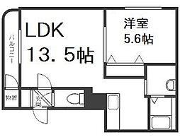 北海道札幌市手稲区稲穂二条7丁目の賃貸マンションの間取り