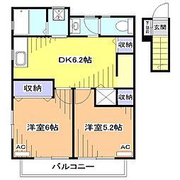 パインコート小平[2階]の間取り