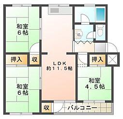 神陵台北住宅68号棟[5階]の間取り