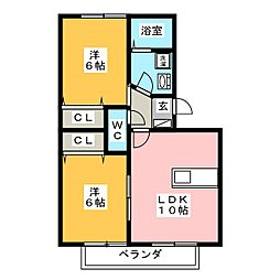 ヴィクトワールレーブ[2階]の間取り