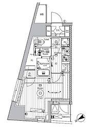 東京メトロ副都心線 西早稲田駅 徒歩8分の賃貸マンション 9階1Kの間取り