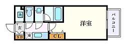 名古屋市営名城線 東別院駅 徒歩9分の賃貸マンション 8階1Kの間取り